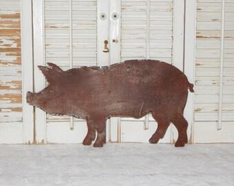 Rusty Metal Pig Wall Art Rustic Farmhouse Decor Country Home Decor
