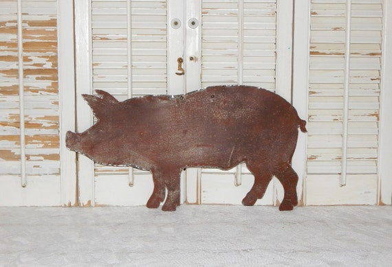 Rusty metal pig wall art rustic farmhouse decor country home for Pig decorations for home