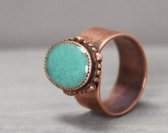 Turquoise Ring, Turquoise And Copper, Ornate Ring, Statement Ring, Grounding Ring, Meditation Jewelry, Crystal Jewelry, Turquoise Jewelry