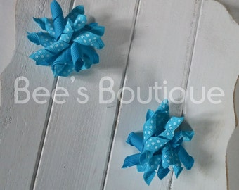 itty bitty blue korker bow set