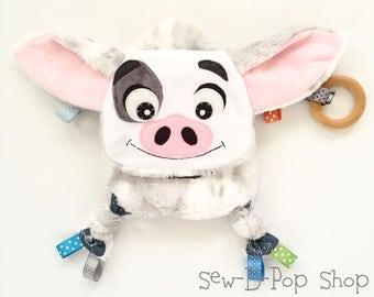 Mini piggy pua baby teething toy keepsake blanket buddy