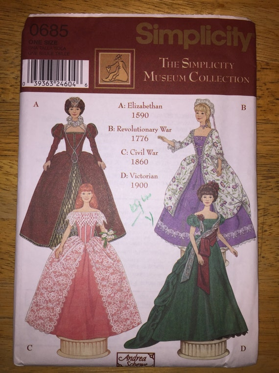 "Simplicity Crafts Sewing Pattern 0685 Costumes for 11 1/2"" Fashion Doll The Simplicity Museum Collection"