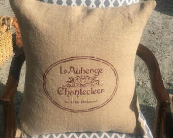 Burlap washed french inspired pillow covers