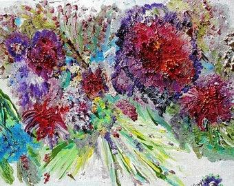Flower Wreath, Abstract Florals, Impressionism, Bold Flowers Leaves Sky, Cheerful Art, Original Oil by KSonya, 20,16, FromGlenToGlen