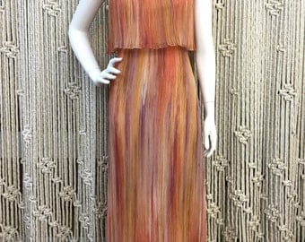 Beautiful 1970's sunset colored accordian pleat maxi dress
