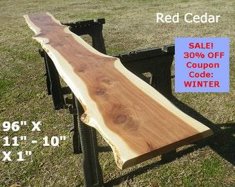 Fun Live Edge Bar Top, Finished Red Cedar Wood Slab, Behind the Sofa Table, Natural Edge Shelving, Bench, Foyer Table, Sleek Top Shelf, 7017