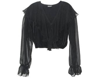 90s Black Long Sleeve Ruffle Blouse M/L