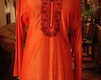 Vintage 1990s Boho Chic Orange Embroidered in Burgundy Pakistan Dress