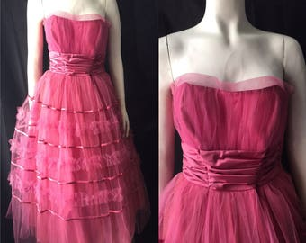 1950s tulle prom dress