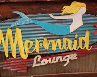 Mermaid Lounge Retro Sign/Vintage Barn Tin/Painted/