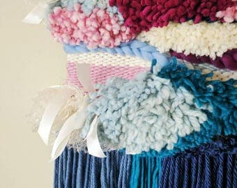 Easter Tidings Weave /woven wall textile / woven art/ wall hanging/ blue, pink, white