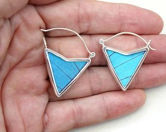 Real Butterfly Wing Earrings Butterfly Wing Jewelry Blue Morpho Butterfly Dangle Earrings Real Blue Morpho Butterfly gift Nature earrings