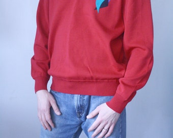 Red St. Croix Shop Sweater with Abstract Accent
