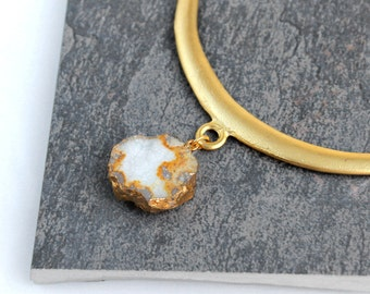 Druzy Necklace with Gold Collar and Suede Cord, White, Cream Statement Necklace