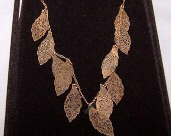 Vintage 14k Gold Filled Filigree Leaf Dangle Necklace Signed Lang New Box