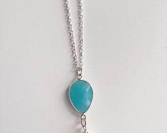 Semi Precious Stone, Cultured Freshwater Pearl, Silver Necklace, Aqua