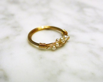 Nested Tiny Pearls with 14K Gold Filled Ring
