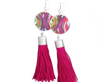 Fabulous Tassel ART Earrings - RED or PINK Painter - Next Romance Jewels Melbourne Australia