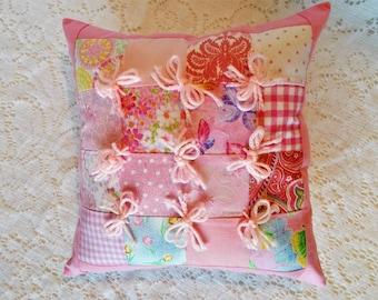 """Pillow, Pink Pillow, Accent Pillow, Quilted Pillow, Decorative Pillow, Fabric Pillow, Throw Pillow, Cotton Pillow, Handmade Pillow, 13 x 13"""""""