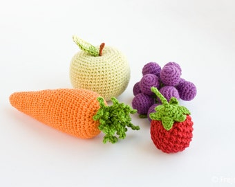 Crochet Baby Rattles, Set of 4 - apple, carrot, grape, raspberry - eco-friendly vegetarian crochet play food - FrejaToys