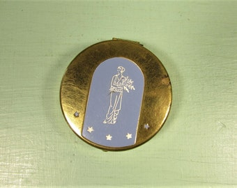 L'Adonna Rouge Compact - Vintage Gold Tone Blue White Enamel