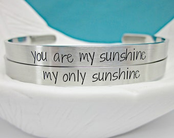 You Are My Sunshine, My Only Sunshine Skinny Cuff Set - Matching Bracelets - Mother Daughter - Gift for Mom - My Sunshine
