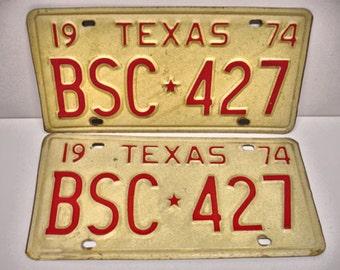 Vintage Set 1974 Texas License Plates BSC-427 Car License Plates