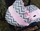 Pink Grey Chevron Stripe light pink minky baby car seat cover infant seat cover slip cover Graco fit or evenflo universal