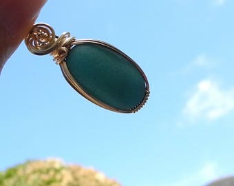 Jade Green Sea Glass Pendant  Wire Wrapped in Gold, Deep Green Seaglass Necklace, Dark Green Beach Glass, Genuine Rare, Seaglass Necklace