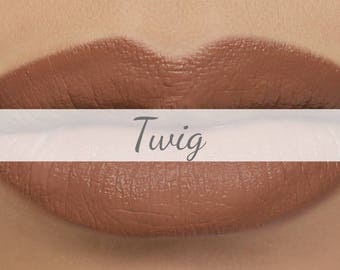 "Vegan Matte Lipstick Sample - ""Twig"" (medium nude brown natural lipstick with opaque coverage)"