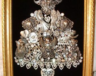 "Vintage Jewelry Framed Christmas Tree ~ Christmas HEARTS & ANGELS ~ ""Mother"" Angel ~ Christmas Heirloom Keepsake"
