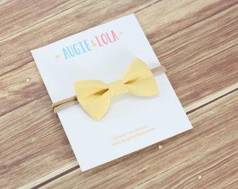 Yellow Bow, Banana Bow, Girls Hair Bows, Sailor Bow, Chunky Bow, Mini Bow, Newborn Bows, Headbands, Newborn Headband, Toddler Headband