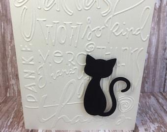 cat card set, cat thank you cards, thank you cards, paw print thank you cards, paw print cards,embossed thank you cards,hostess gift,6 cards