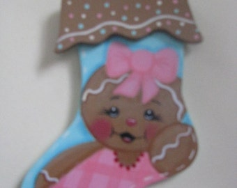 Stocking, gingerbread, ornament, magnet, Christmas, wood, handpainted, hostess gift, gifts for her