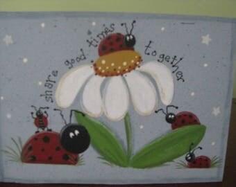 Ladybug, laldybug block, daisy, summer, home decor, shelf sitter, hostess gift, gift for her, summer decor