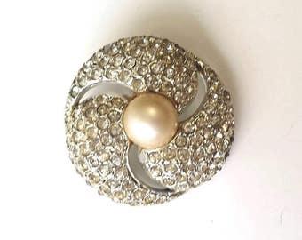 Vintage 50's ATOMIC SWIRL Platinum Plated Rhinestone & Pearl Brooch Pin Vintage  Glam Costume Jewelry Encrusted Rockabilly
