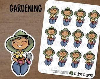 Tan Skin Gardening Gardener Plus Size Curvy Planner Stickers, Latina Hispanic Boricua - Erin Condren, Happy Planner, Filofax, Decorative