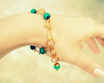 Malachite bracelet ~ Copper wire ~ Handmade