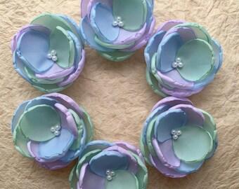 Multicolor mint lilac sky blue fabric Flowers handmade, Bridal Bridesmaids hair shoe clip accessory, Flower Girls Christmas Birthday gift,