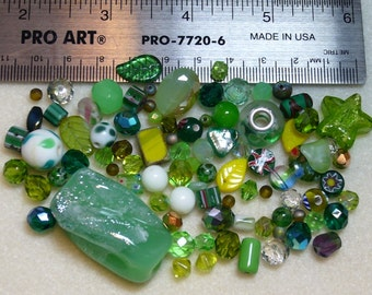 BEAD SOUP - DESTASH - greens - press glass, vintage glass, art glass, crystals - variety - beads - PG896