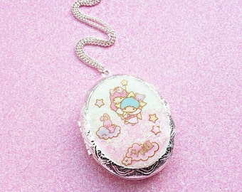 Little Twin Stars Kawaii Ombre Pastel Pink and White Magical Girl Silver Locket Necklace