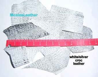 Scrap leather pieces silver white croc leather scraps remnants jewellery earrings
