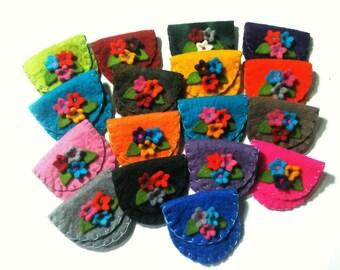 SALE 20% Felt Purse, Felt Bag, Wool Purse, Felt Coin Purse, Felt Flower Purse, Mini Felt Bag, Purse For Kids,  Felt Pouch, Gift Purse