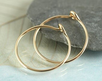 Gold Hoops - 14 ct Gold Fill Sleeper Earrings