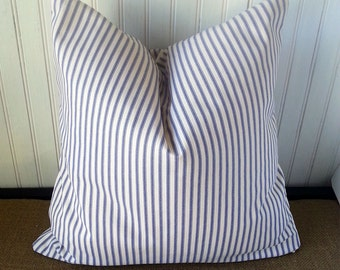 Blue Ticking Pillow - Blue Stripe Pillow - Ticking Pillow - Beach Pillow - FULLY LINED - Beach Cottage - Blue Ticking