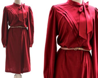Vintage 80s (Red)Crimson Dresses, Bellissima Dress, Shoulder Pads, Midi Party Dress, Party or Office Dresses, Dresses for Day