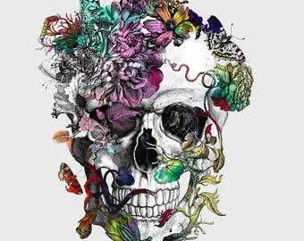 Spring Skull, Original Canvas Art Print