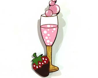 Strawberry & Bubbles Hand Painted Wooden Brooch