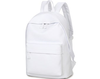 Basic Synthetic Leather Backpack (White)
