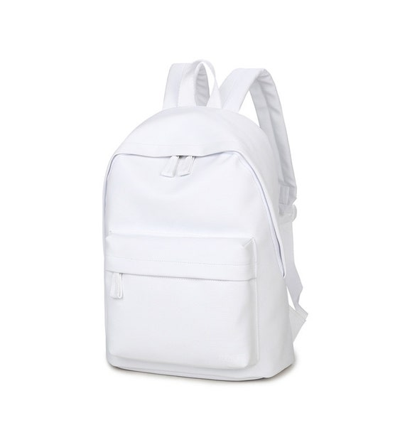Basic Synthetic Leather Backpack White